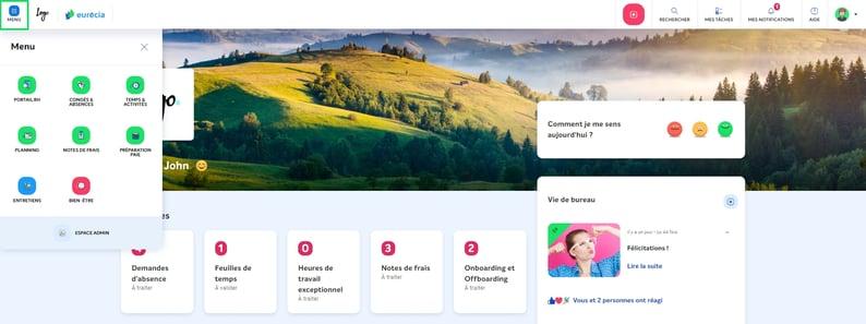 home page + menu SIRH